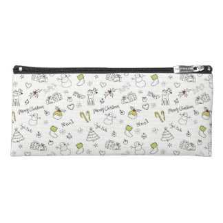 Merry Christmas Sketches Pattern Pencil Case
