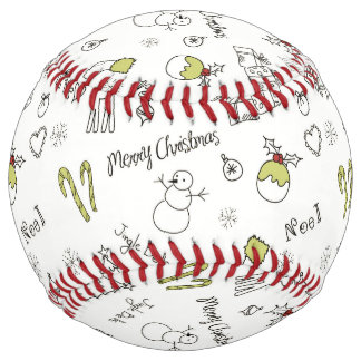 Merry Christmas Sketches Pattern Softball