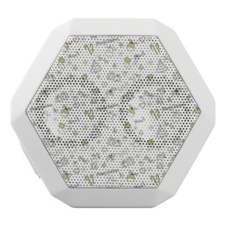 Merry Christmas Sketches Pattern White Bluetooth Speaker