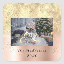 Merry Christmas Skin Gold Stars Glitter Photo Spar Square Sticker