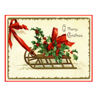 Merry Christmas Sled Vintage Reproduction Postcard