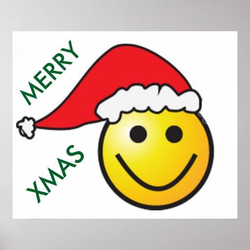 """""""MERRY CHRISTMAS"""" SMILEY FACE SANTA POSTER"""