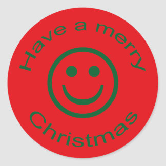 Merry Christmas Smiley Classic Round Sticker