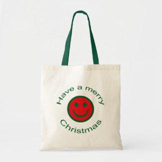 Merry Christmas Smiley Tote Bag