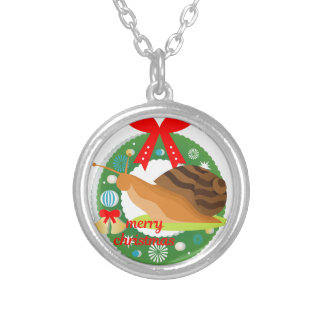 merry christmas snail silver plated necklace