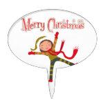 Merry Christmas Snow Angel Girl Oval Cake Topper
