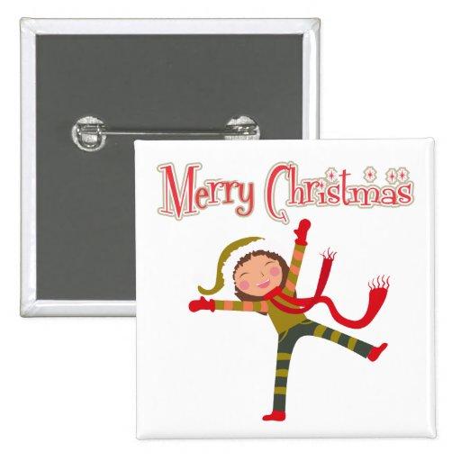 Merry Christmas Snow Angel Girl Pinback Button