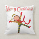 Merry Christmas Snow Angel Girl Throw Pillows