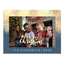 Merry Christmas Snow Blue Gold Photo Glitter Spark Postcard