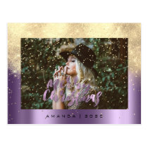 Merry Christmas Snow Eggplant Gold Photo Glitter Postcard