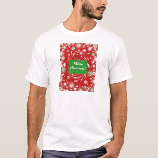 Merry Christmas Snow flakes - background red green T-Shirt