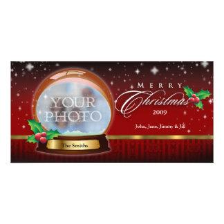 Merry Christmas Snow Globe Customizable 4 Card