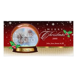 Merry Christmas Snow Globe Customizable 6 Photo Card