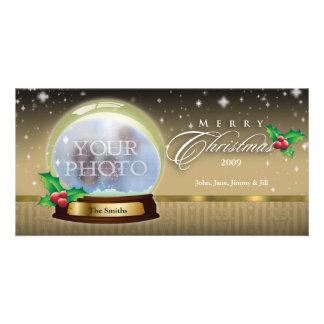 Merry Christmas Snow Globe Customizable 7 Photo Card Template