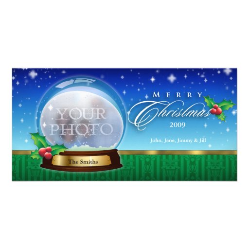 Merry Christmas Snow Globe Customizable 8 Photo Card Template