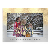 Merry Christmas Snow Gray Gold Aqua Photo Glitter Postcard
