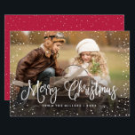 "Merry Christmas Snow Holiday Card<br><div class=""desc"">Celebrate the holidays with this chic Christmas card featuring modern script and snowfall.</div>"