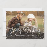 """Merry Christmas Snow Holiday Card<br><div class=""""desc"""">Celebrate the holidays with this chic Christmas card featuring modern script and snowfall.</div>"""