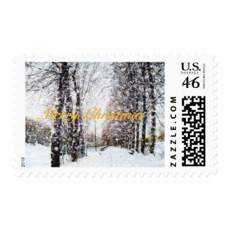 Merry Christmas Snow Landscape postage stamps