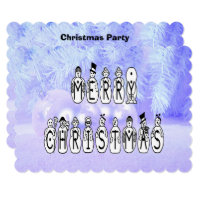 Merry Christmas Snow People Font, Blue Tint Snow Invitation