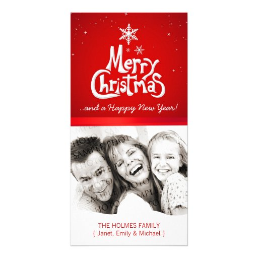 Merry Christmas Snow personalized photo card