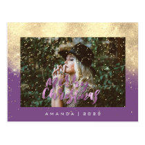 Merry Christmas Snow Purple Gold Photo Glitter Postcard