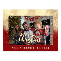 Merry Christmas Snow Red Gold Photo Glitter Spark Postcard
