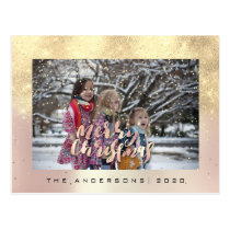 Merry Christmas Snow Rose Gold Photo Glitter Postcard