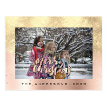 Merry Christmas Snow Rose Gold Photo Glitter Spark Postcard