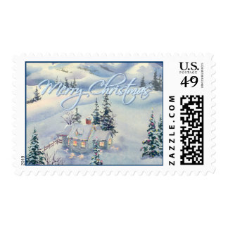 MERRY CHRISTMAS SNOW SCENE by SHARON SHARPE Postage Stamp