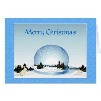 Merry Christmas Snow Scene Customizable Card
