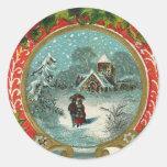 Merry Christmas Snow Scene Medallion Classic Round Sticker