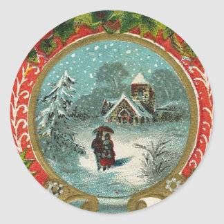 Merry Christmas Snow Scene Medallion Round Sticker