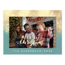 Merry Christmas Snow Teal Gold Photo Glitter Spark Postcard