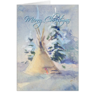 MERRY CHRISTMAS SNOW TIPI by SHARON SHARPE Card