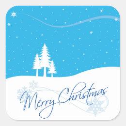 Merry Christmas Snow Trees Stars Winter Scene Square Sticker