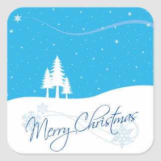 Merry Christmas Snow Trees Stars Winter Scene Square Sticker