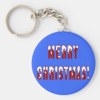 Merry Christmas Snowcap Fonts Keychain