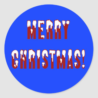 Merry Christmas Snowcap Fonts Round Stickers