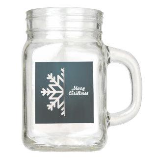 Merry Christmas Snowflake Blue Mason Jar