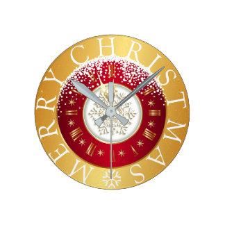 Merry Christmas Snowflake Clock Burgundy