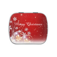 Merry Christmas Snowflake Jelly Belly Candy Tin
