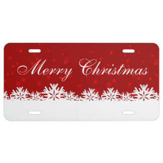 Merry Christmas Snowflake License Plate
