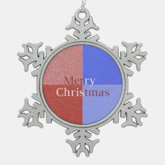 Merry Christmas Snowflake Pewter Christmas Ornament
