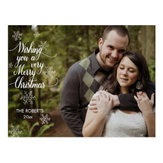 Merry Christmas Snowflake Photo Overlay Postcard