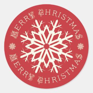 Merry Christmas Snowflake Stickers/Envelope Seals