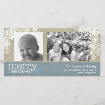 Merry Christmas Snowflakes - 2 photos - horizontal Holiday Card