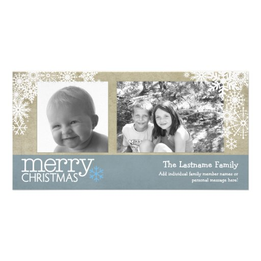 Merry Christmas Snowflakes - 2 photos - horizontal Photo Card