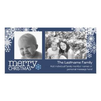 Merry Christmas Snowflakes - 2 photos - horizontal Photo Card