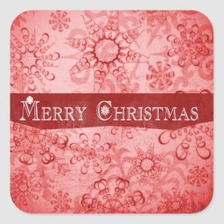 Merry Christmas Snowflakes design Square Sticker